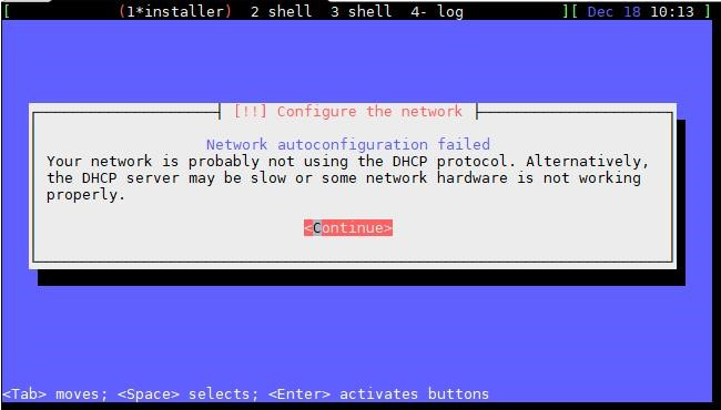 Network autoconfiguration failed