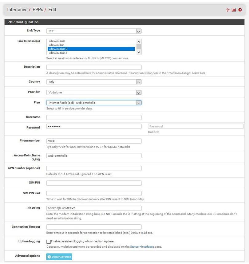Configurare pfsense 4g