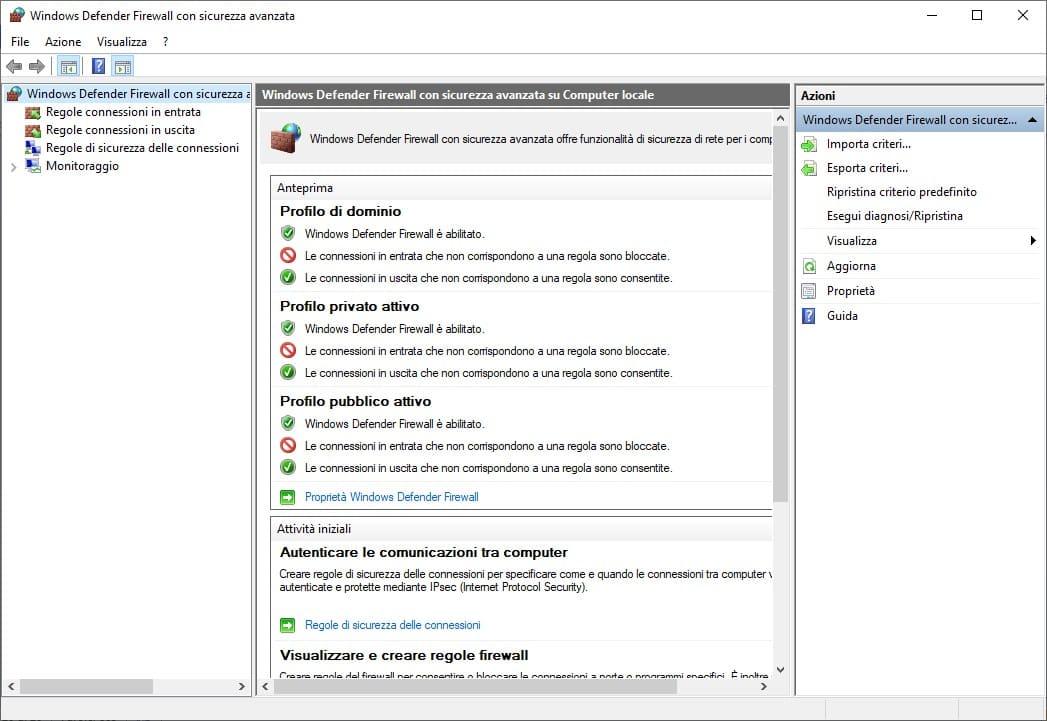 Impostazioni Windows Firewall