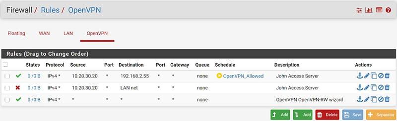 OpenVPN pfSense Accessi a Tempo