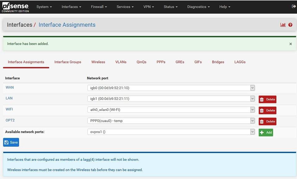 pfsense configurazione WIFI